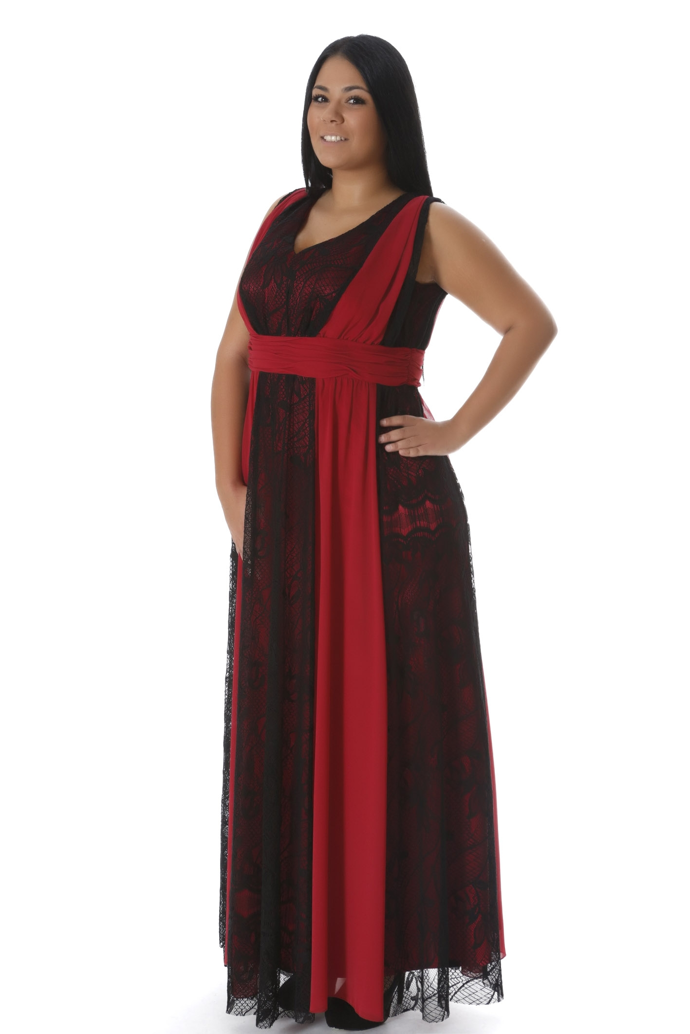 Maxi φόρεμα κόκκινο μαύρο 3b95e1ccad2