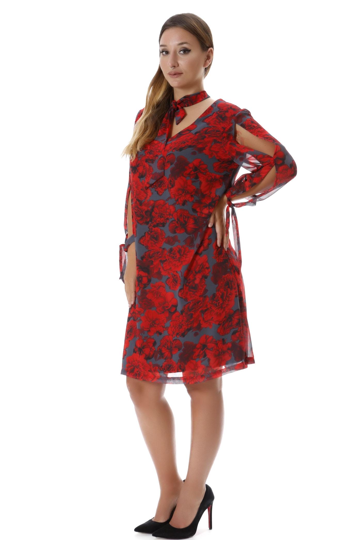Φόρεμα με δέσιμο γκρι/κόκκινο νέες αφίξεις   ενδύματα   φορέματα   flowers   siderati   landing category   bra