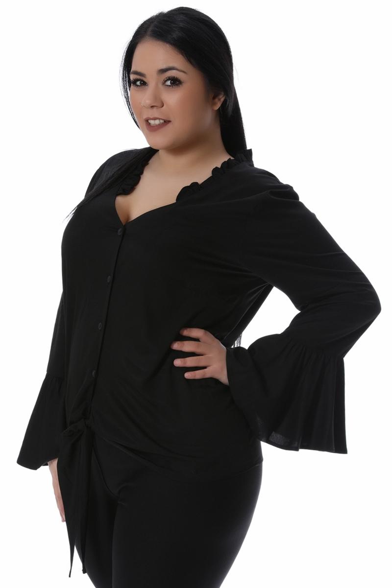 Πουκάμισο με δέσιμο μαύρο νέες αφίξεις   ενδύματα   μπλούζες   sunrose