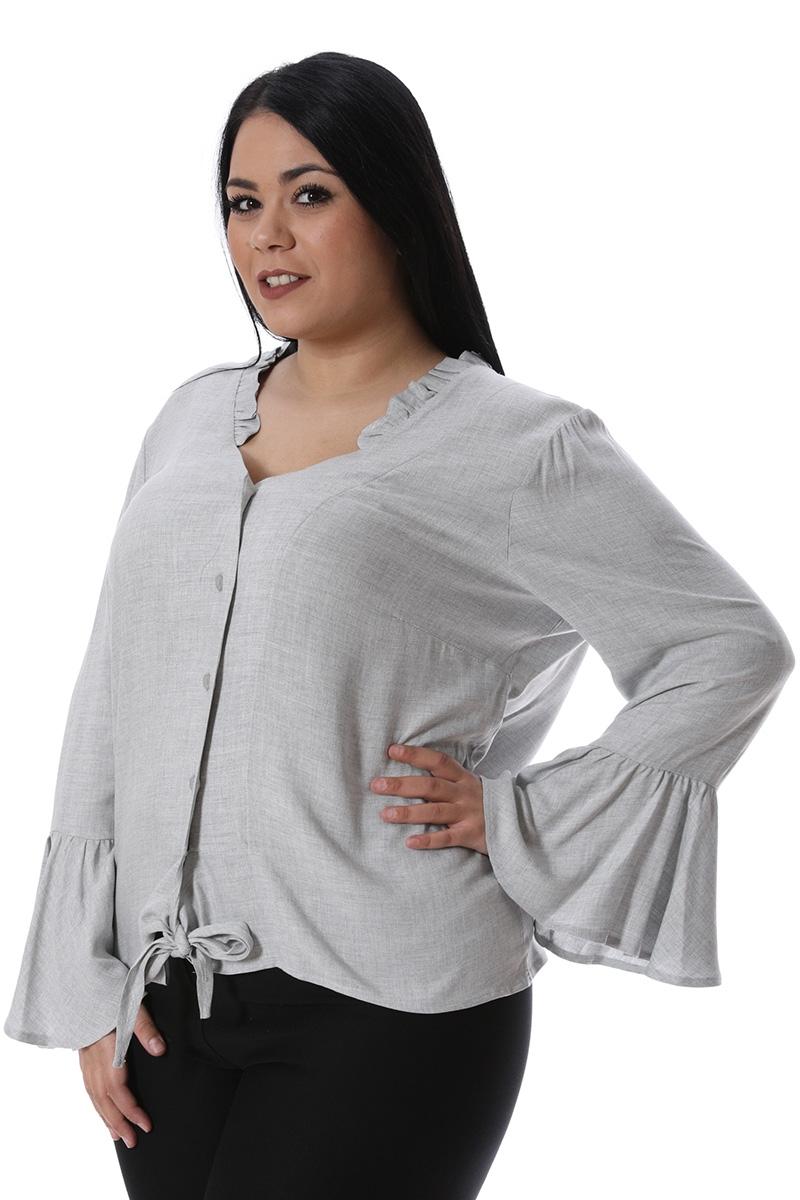 Πουκάμισο με δέσιμο γκρι νέες αφίξεις   ενδύματα   μπλούζες   sunrose