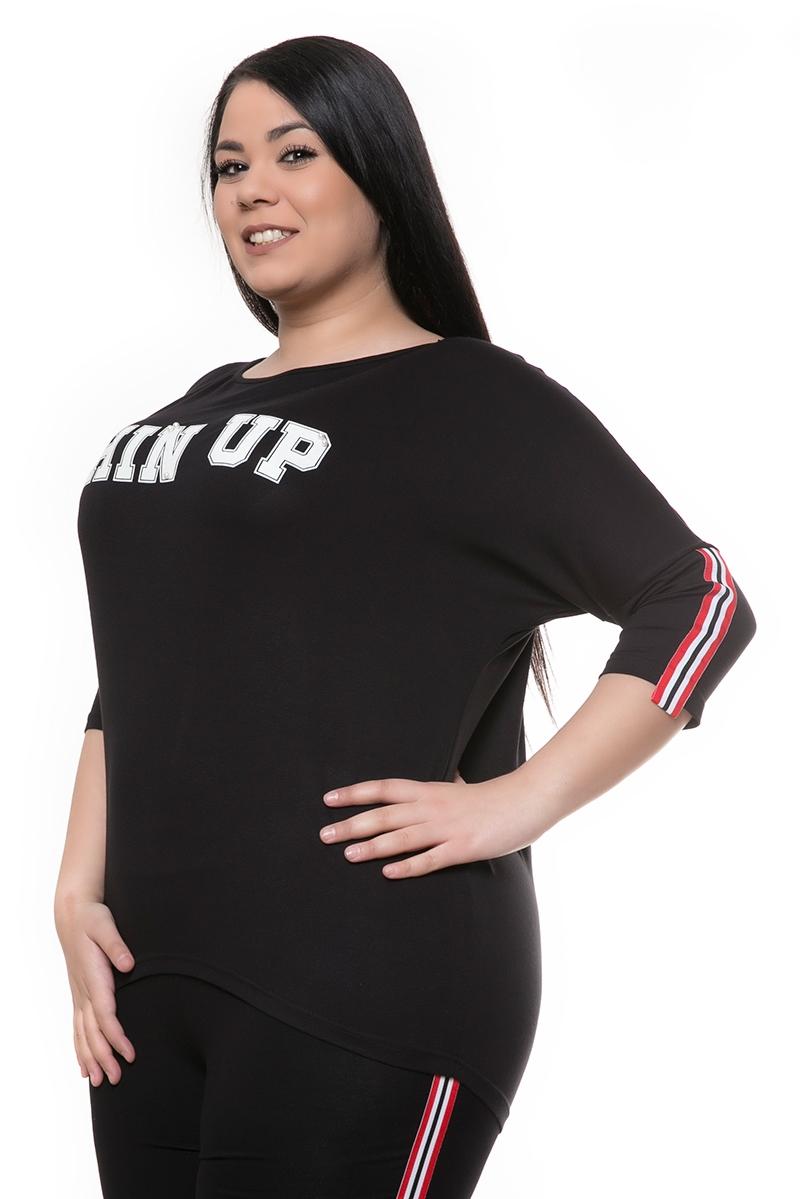 Μπλούζα με τύπωμα μαύρη νέες αφίξεις   ενδύματα   μπλούζες   brands   happy sizes