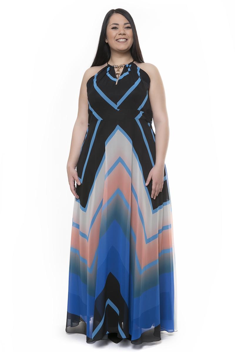869f69b9c03f Maxi φόρεμα με κολιέ μαύρο σιέλ