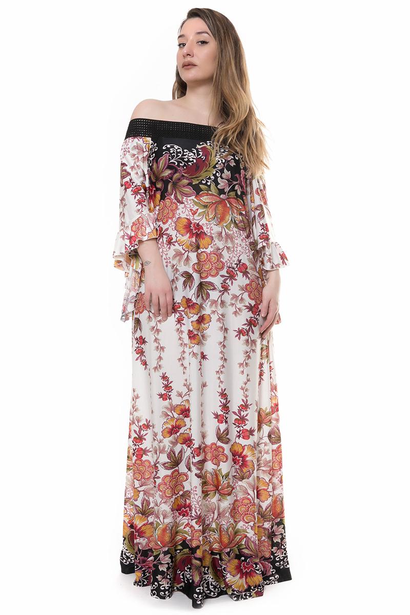 Εμπριμέ maxi φόρεμα νέες αφίξεις   ενδύματα   φορέματα   brands   sunrose   flowers