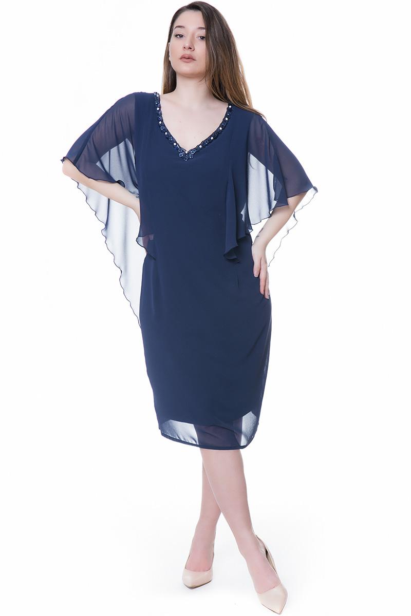 0ea1148db175 Midi φόρεμα Μπλε χρώμα Ελαστική επένδυση Κρεπ μουσελίνα από πάνω Μπέρτα  μουσελίνας για 3 4