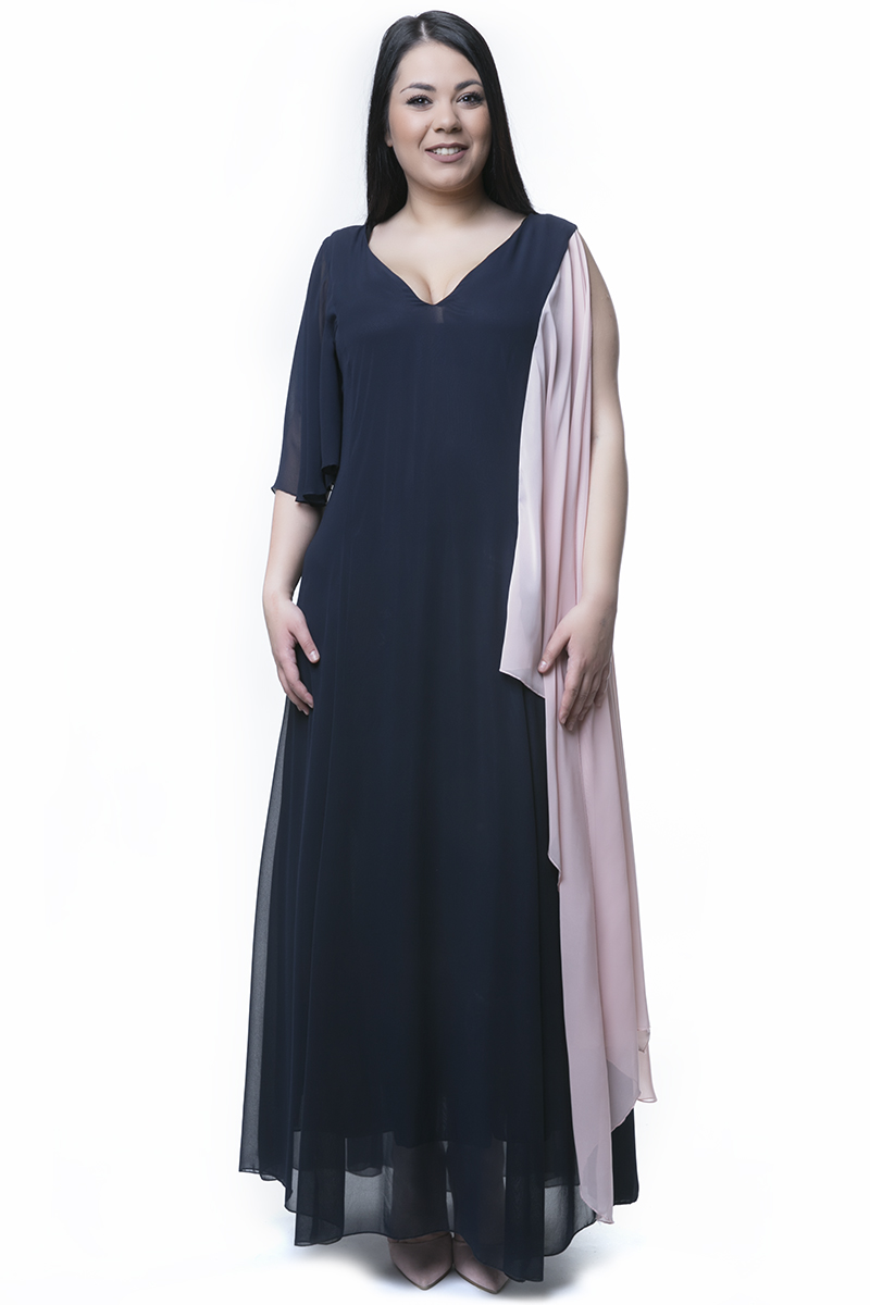 4b92e6469fb1 Maxi φόρεμα μουσελίνα μπλε πούδρα
