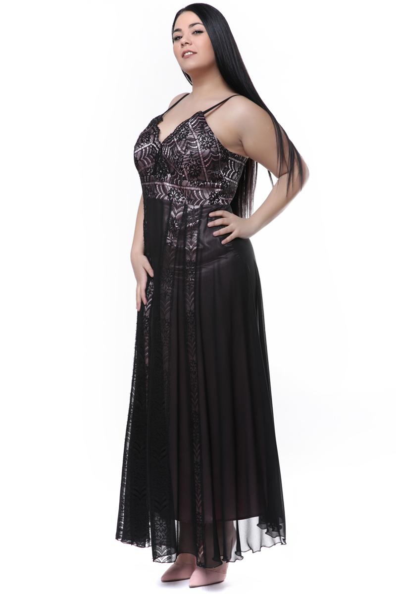 d9169d530f46 Maxi φόρεμα δαντέλα μαύρο ροζ