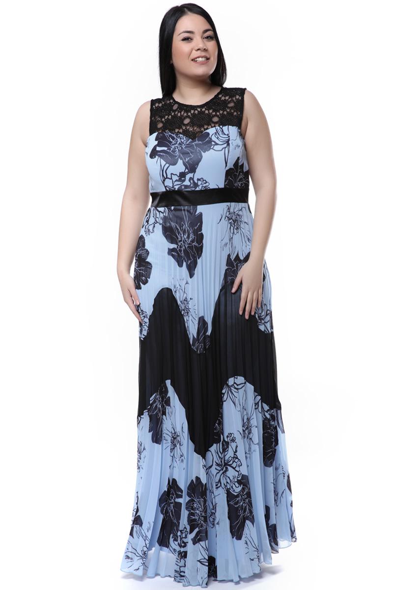 Maxi εμπριμέ φόρεμα μαύρο σιέλ 93cfc24d25f