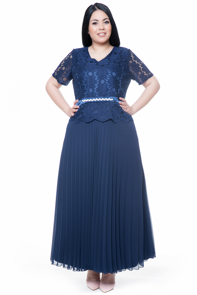 3dd92f20b8b1 Maxi φόρεμα πλισέ με δαντέλα μπλε