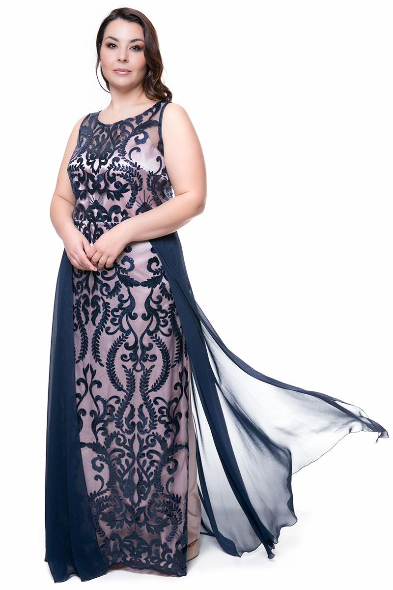 9eca69c03c27 Maxi κεντητό φόρεμα με μουσελίνα σε μπλε πούδρα χρώμα