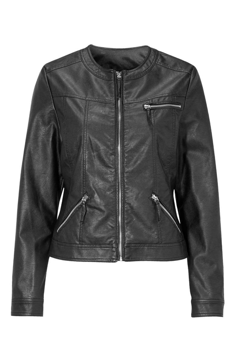 Leather like jacket Κοντό Μαύρο χρώμα Στρόγγυλη λαιμόκοψη 3 Τσέπες Μακριά μανίκια Κλείσιμο με φερμουάρ Ίσια γραμμή Σύνθεση60%POL 40%EL Διαθέσιμα μεγέθη από 38/40 έως 58/60. Το μοντέλο έχει ύψος 1.75cm και φοράει μέγεθος 38/40.