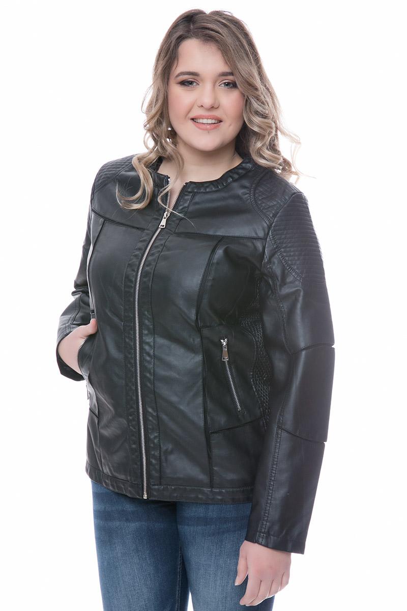 c3b887113de7 Leather-like jacket Μαύρο χρώμα Μακριά μανίκια Με κλειστη λαιμόκοψη  Κλείσιμο με φερμουάρ Τσέπες με