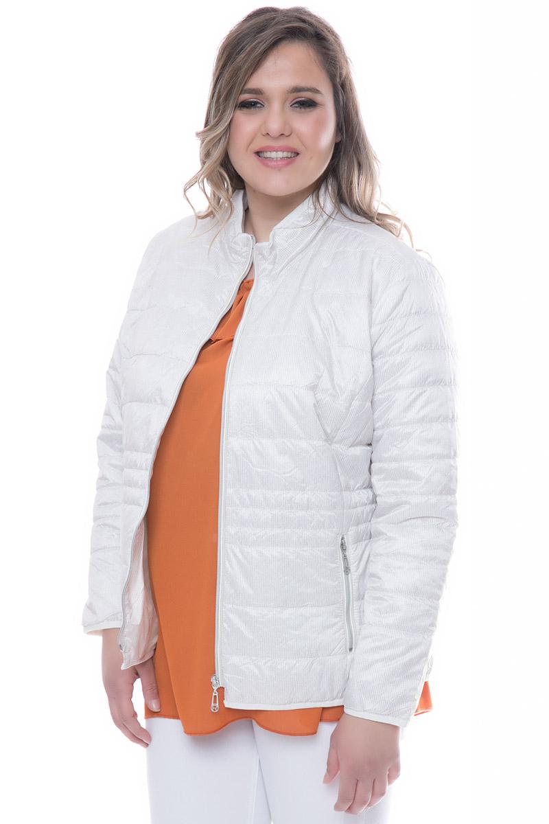 082bab2fd69f Λεπτό μπουφάν Μπεζ χρώμα Ριγέ σχέδιο Μπροστινές τσέπες με φερμουάρ Φερμουάρ  για κλείσιμο Μακριά μανίκια Ίσια