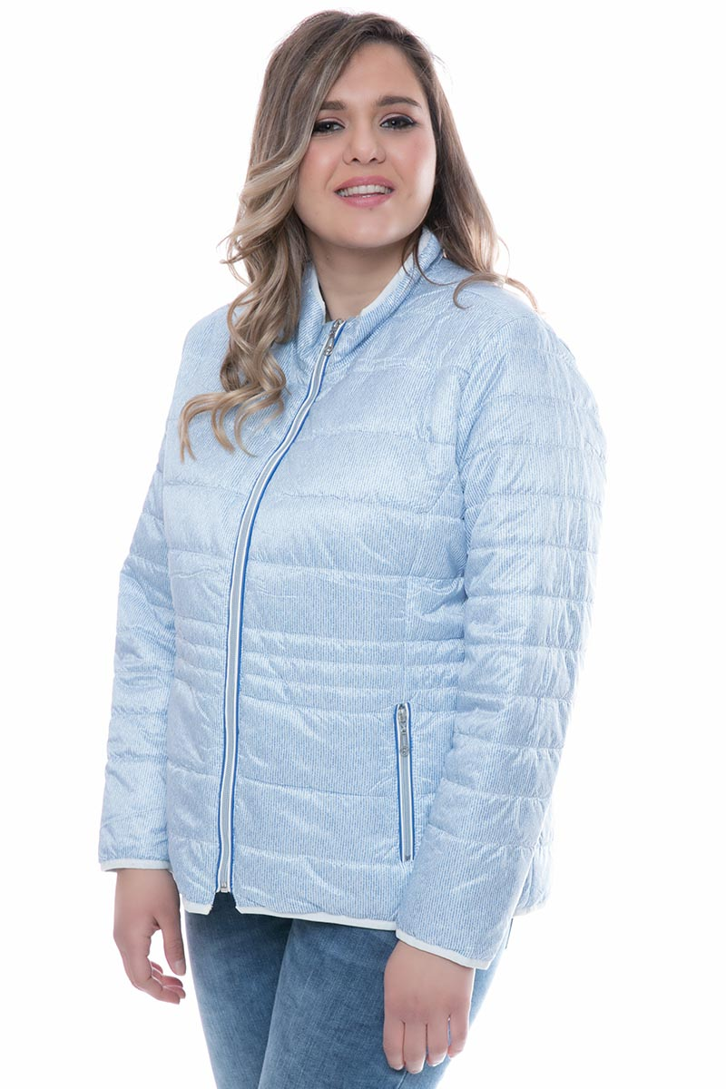 80b7d745da41 Λεπτό μπουφάν Γαλάζιο χρώμα Ριγέ σχέδιο Μπροστινές τσέπες με φερμουάρ  Φερμουάρ για κλείσιμο Μακριά μανίκια Ίσια