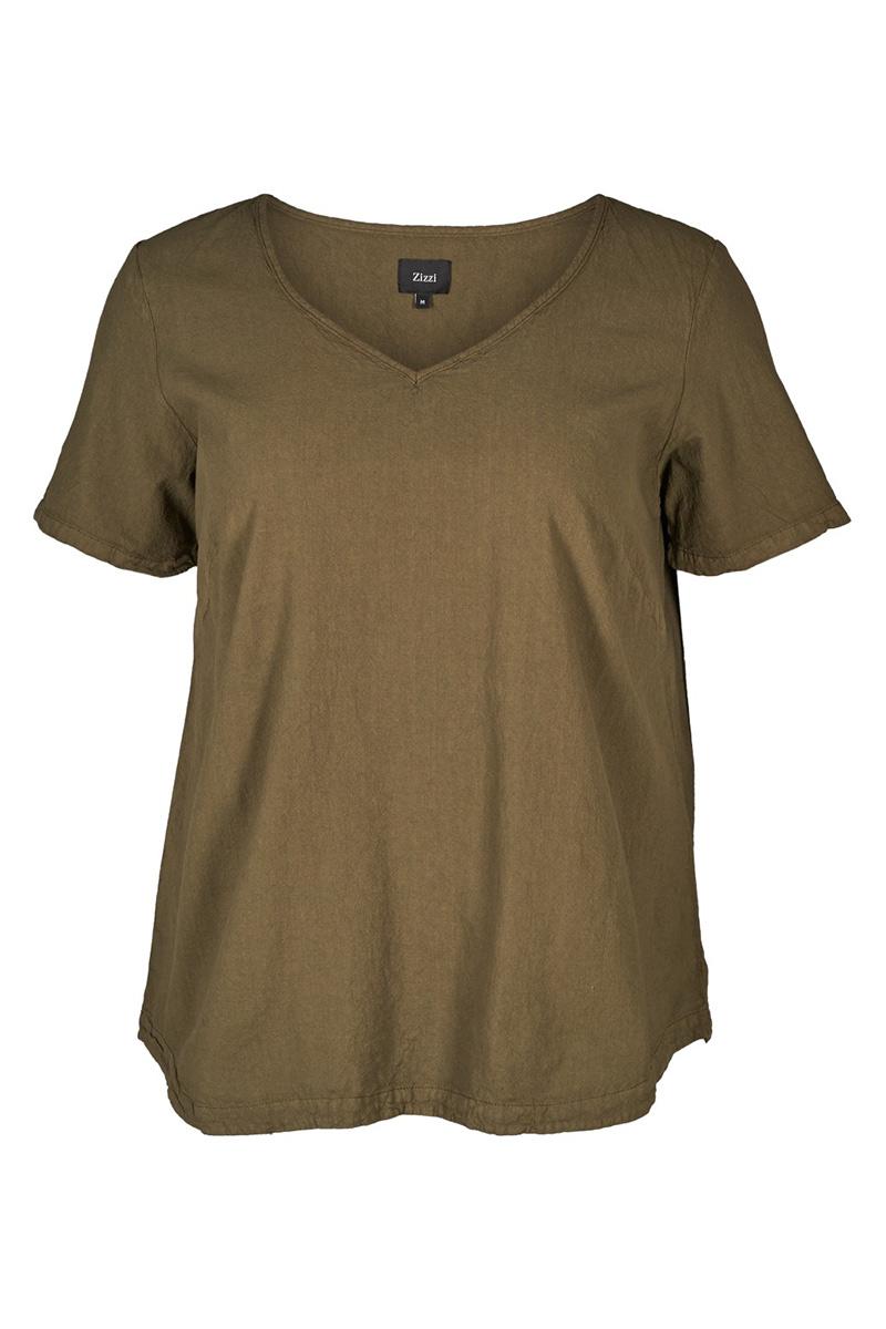 2035c2facfa0 Λινή μπλούζα Χρώμα χακί Σταθερό ύφασμα βαμβακερό Κοντά μανίκια V λεπτή  λαιμόκοψη Ίσια γραμμή Σύνθεση