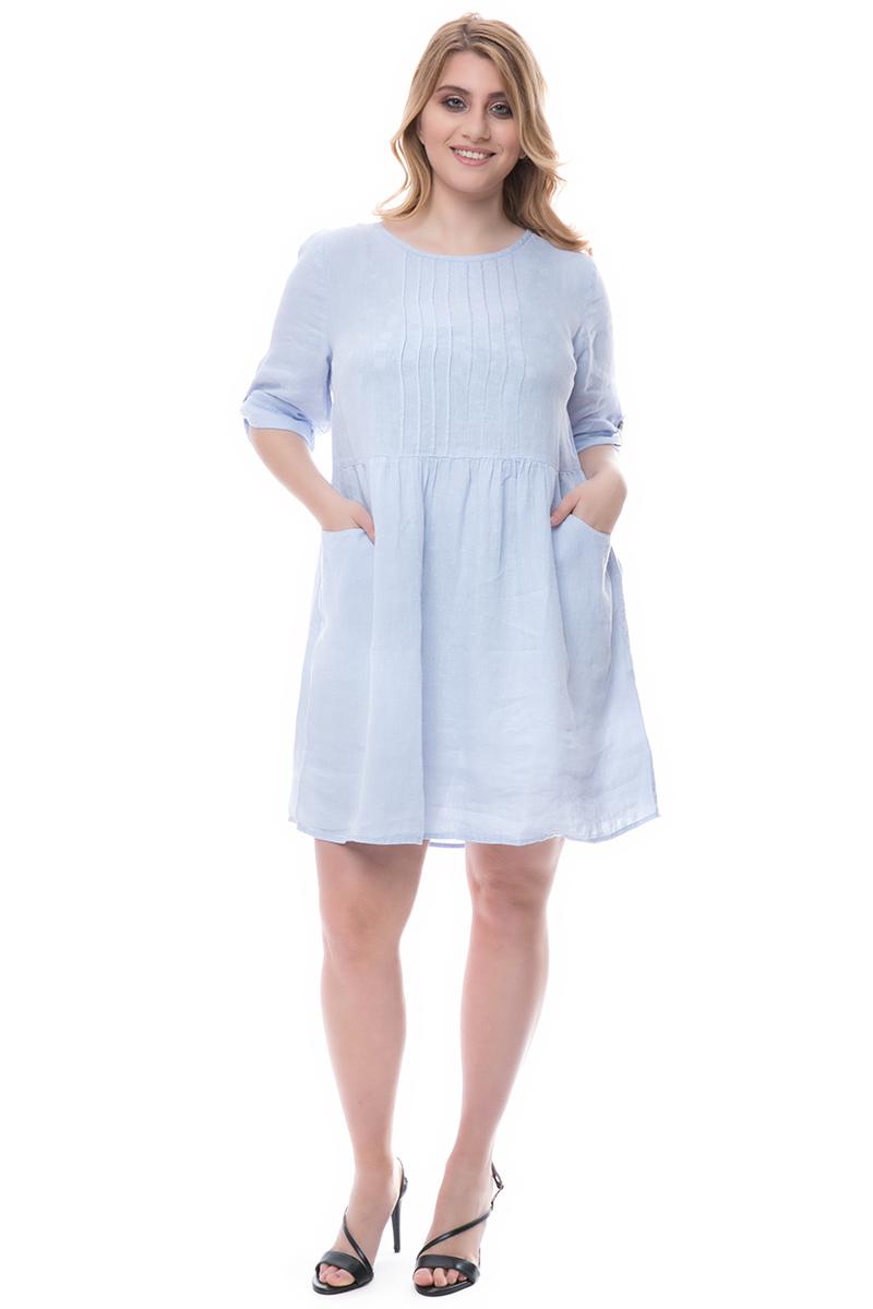 12f01f3cc9 Λινό midi φόρεμα σε σιελ χρώμα