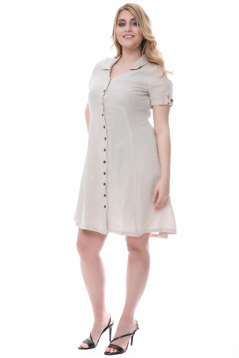e261ecd3417c Σεμιζιέ φόρεμα Χρώμα μπεζ Κοντά μανίκια με κουμπί Κουμπάκια σε όλο το μήκος  Πλαϊνές τσέπες Γιακάς