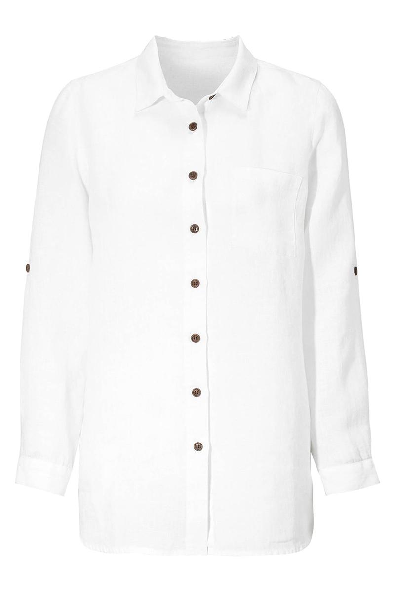 Λινό πουκάμισο Λευκό χρώμα Κλειστή λαιμόκοψη 3/4 μανίκια με αναδίπλωση Διαθέτει τσεπάκι Σε ίσια γραμμή Σταθερό ύφασμα Σύνθεση: 100%LIN Η γραμμή είναι κανονική - Συμβουλευτείτε το μεγεθολόγιο.Ιδανικό για εντυπωσιακές καθημερινές εμφανίσεις.Διαθέσιμα μεγέθηαπό 38/40 έως 62/64. Το μοντέλο έχει ύψος 1.75cm και φοράει μέγεθος 38/40.