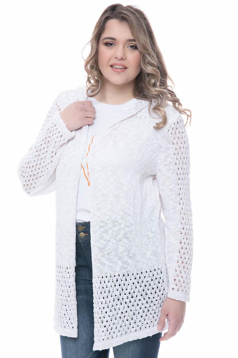 Βαμβακερή πλεκτή ζακέτα Χρώμα λευκό Μακριά μανίκια Διάτρητο πλεκτό ύφασμα Διαθέτει κουκούλα Ανοιχτή μπροστά Ίσια γραμμή Ελαστικό φλαμά %26 lurex ύφασμα Σύνθεση100%COT Η γραμμή είναι κανονική - επιλέξτε το κανονικό σας νούμερο. Ένα must have item για εντυπωσιακές εμφανίσεις. Διαθέσιμα μεγέθη S/Μ έως L/XL. Το μοντέλο έχει ύψος 1.75cm και φοράει μέγεθος S/M.