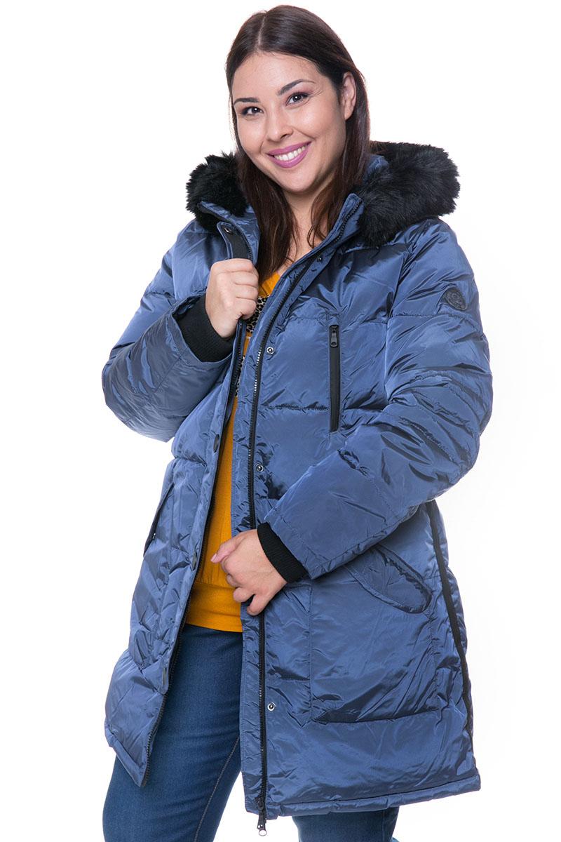 778c9f28b9f2 Μπουφάν μακρύ Μπλε metallic χρώμα Καπιτονέ σχέδιο Μπροστινές τσέπες με  φερμουάρ και τρουκς Φερμουάρ και τρουκς