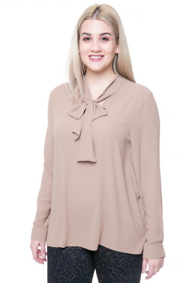 b8fed91f3bd1 Αέρινη μπλούζα Χρώμα καμηλό Μακριά μανίκια με μανσέτες Ανοιχτή λαιμόκοψη με  δέσιμο Ασύμμετρη με το πίσω