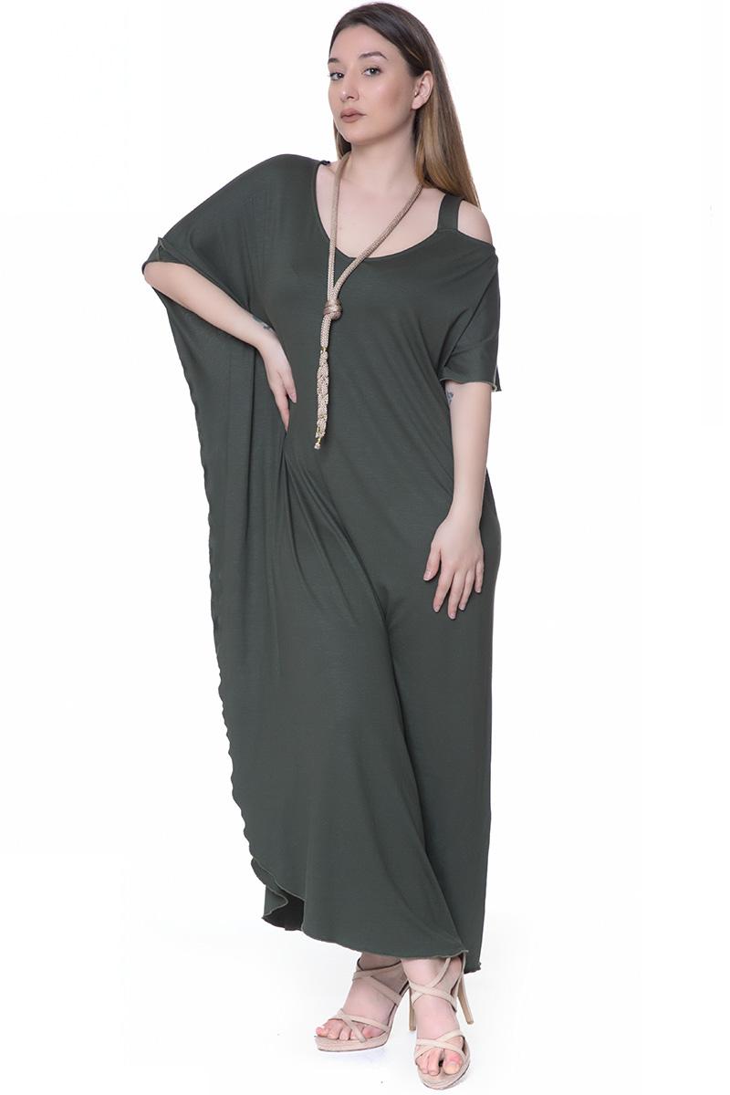 eef563fb738e Maxi Φόρεμα Με έναν ώμο έξω Κοντά μανίκια Μανίκι τύπου νυχτερίδα Βολάν  λεπτομέρεια στο πλάι Ελαστικό