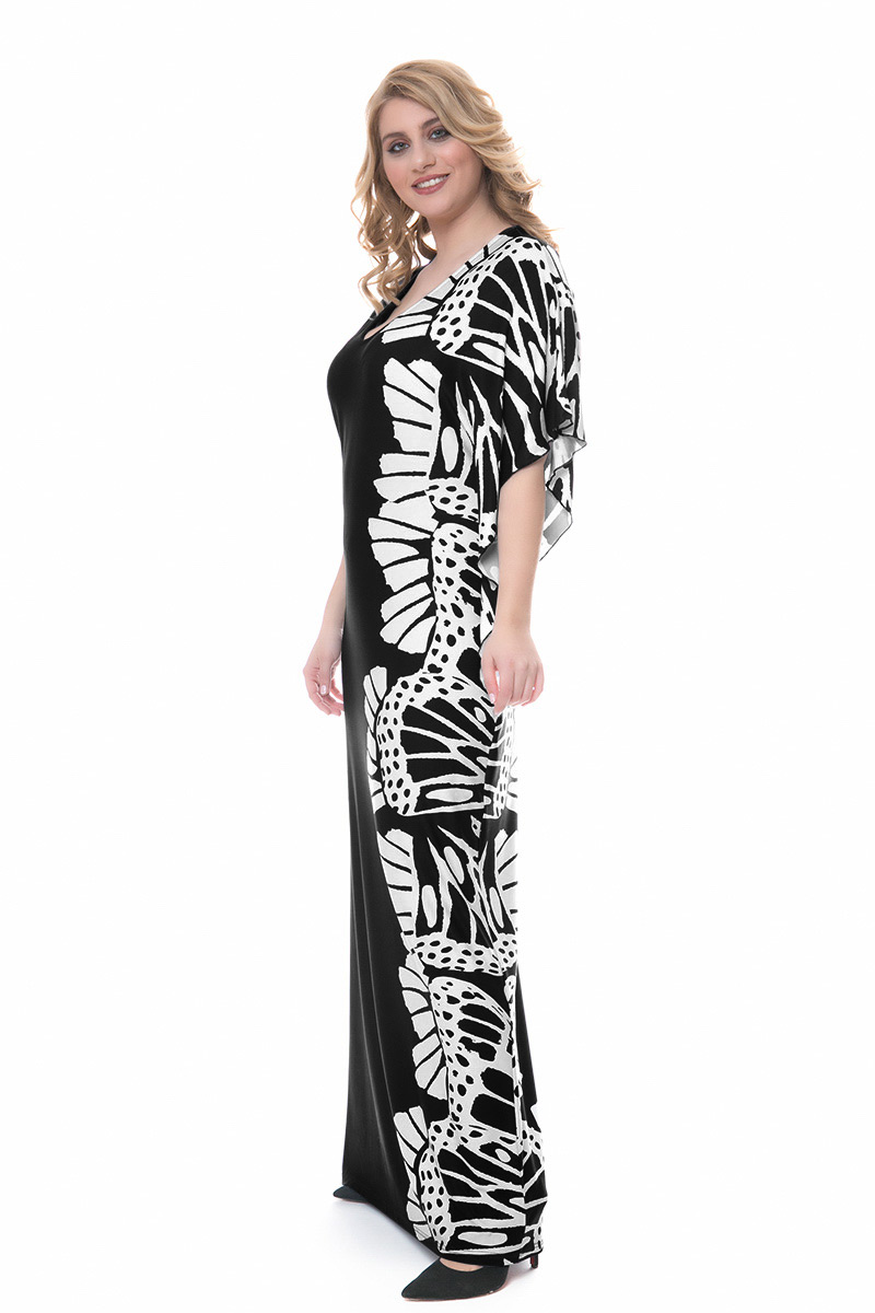 b9747c775557 Φόρεμα maxi Μαύρο χρώμα Διαθέτει λουλούδια στο πλάι Κοντά ασύμμετρα μανίκια  V λαιμόκοψη Ελαστικό ύφασμα Ίσια
