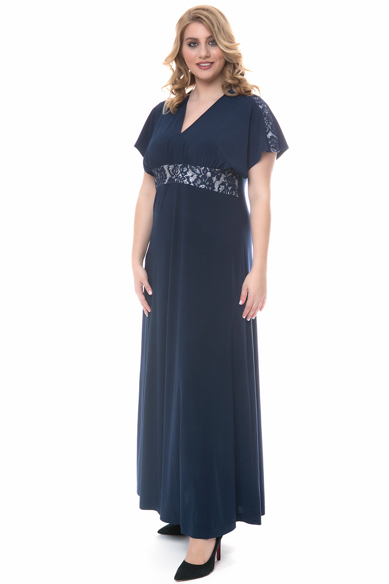 5b1b52c9fa51 Φόρεμα maxi Μπλε χρώμα Διαθέτει τρέσα με δαντέλα στο μπούστο και στ μανίκια  Φερμουάρ και δέσιμο