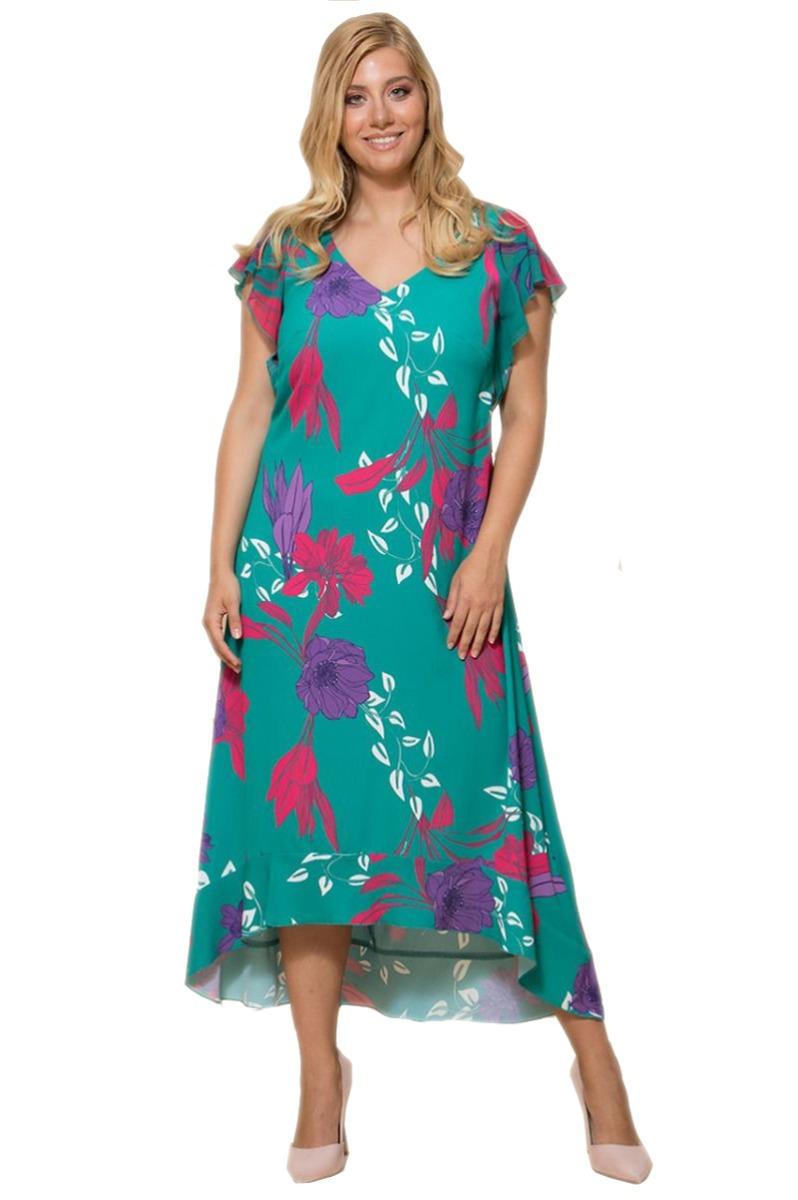 Φλοράλ φόρεμα Χρώμα πράσινο Αμάνικο με βολάν στο τελείωμα Maxi V λαιμόκοψη Σε άλφα ασύμμετρη γραμμή Το ύφασμα του είναι σταθερό Σύνθεση97%RA 3%EL Η γραμμή είναι κανονική - επιλέξτε το κανονικό σας νούμερο. Ένα must have item για υπέροχες καλοκαιρινέςεμφανίσεις. Διαθέσιμα μεγέθη από S έως XXL. Το μοντέλο έχει ύψος 1.75cm και φοράει μέγεθος .