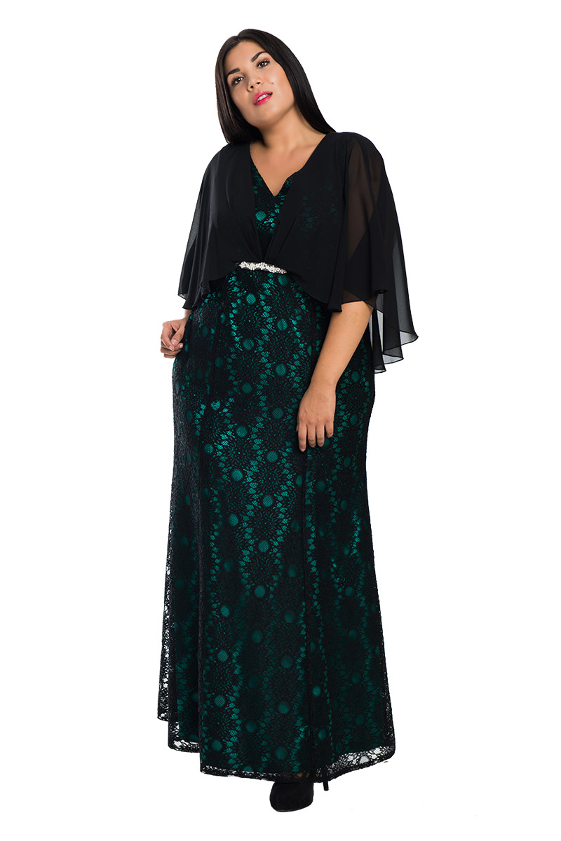 Maxi μαύρο πράσινο φόρεμα με δαντέλα 3b271b51703
