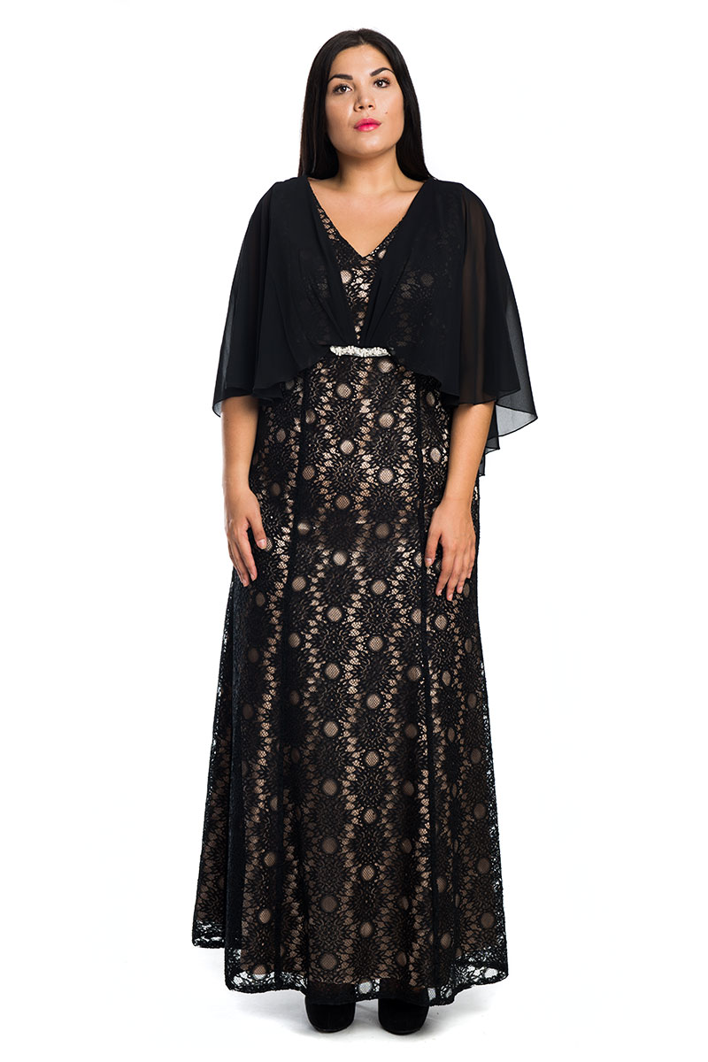 Maxi μαύρο πούδρα φόρεμα με δαντέλα 02fd7aa7eef