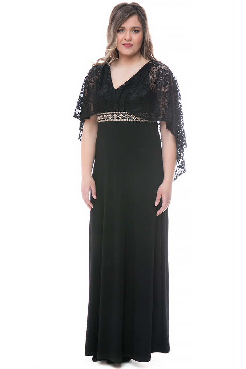 1d1747f2e05b Φόρεμα maxi Μαύρο χρώμα Διαθέτει δαντέλα στο πάνω μέρος Δέσιμο πίσω  Φερμουάρ στο πλάι Τρέσα με