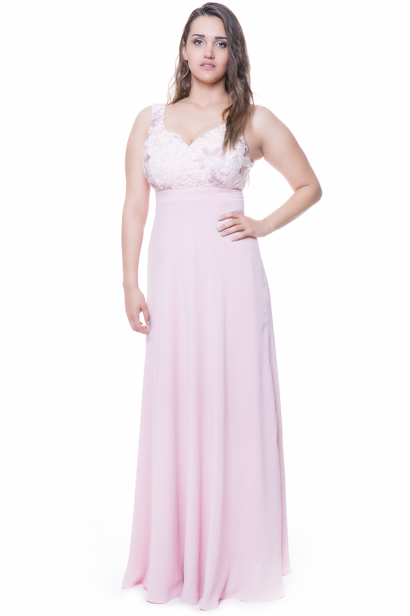 2d33b58fba0c Maxi φόρεμα Πούδρα χρώμα Αμάνικο V-λαιμόκοψη Δαντέλα στο μπούστο Ελαστική  επένδυση ίδου χρώματος V