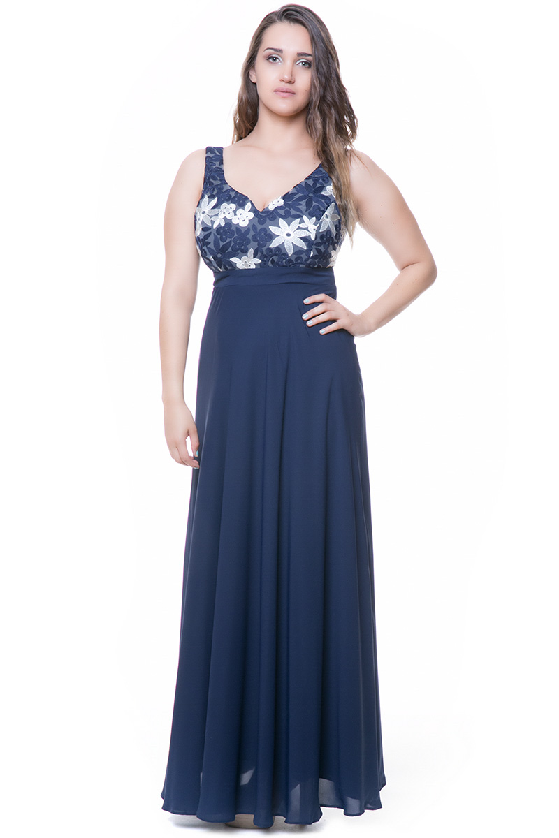 71a64498fbab Maxi φόρεμα Μπλε χρώμα Αμάνικο V-λαιμόκοψη Δαντέλα στο μπούστο Ελαστική  επένδυση ίδου χρώματος V