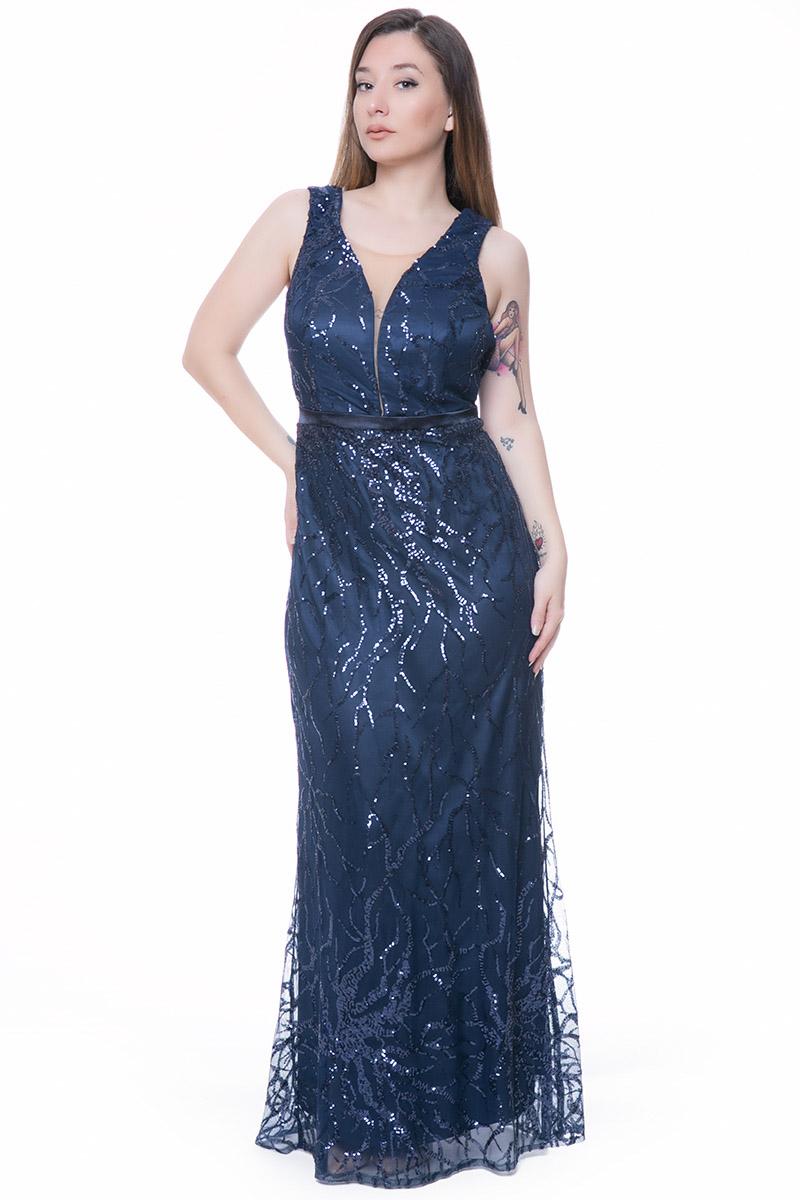 dfa1563dfe7 Maxi φόρεμα Χρώμα μπλε Κεντημένες παγέτες Μεσάτο σε σχήμα γοργονέ Σατέν  λεπτή φάσα κάτω από το