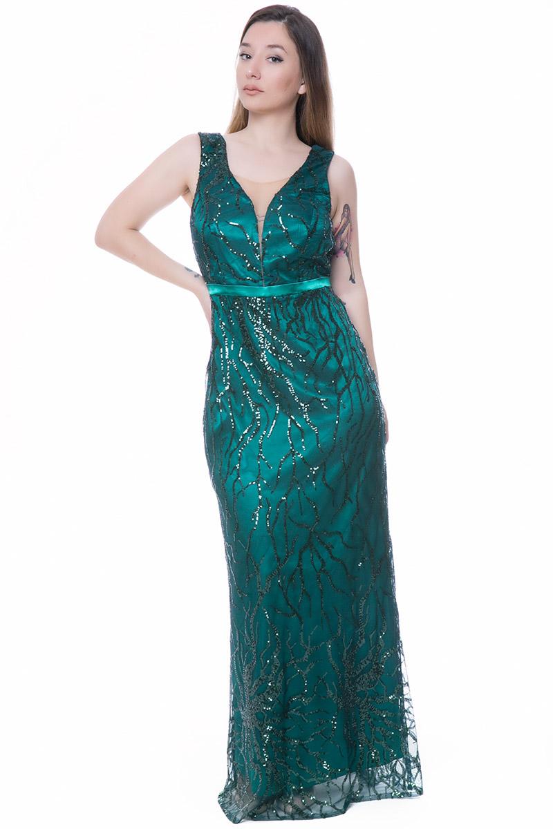 0c97a77e12ef Maxi φόρεμα Χρώμα πράσινο Κεντημένες παγέτες Μεσάτο σε σχήμα γοργονέ Σατέν  λεπτή φάσα κάτω από το