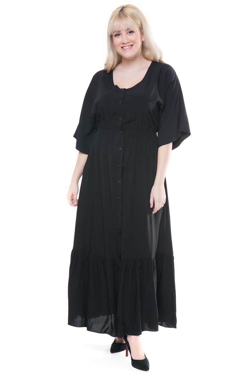 809a4d7b8c9c Φόρεμα maxi Μαύρο χρώμα Διαθέτει λάστιχο στην περιοχή της μέσης Κλείνει με  κουμπιά σε όλο του