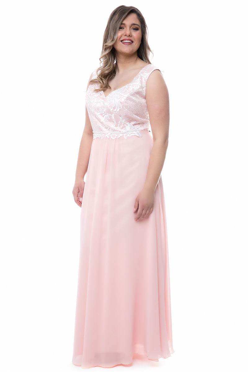 c0f8d4aeff71 Maxi ροζ φόρεμα με κρουαζέ μπούστο