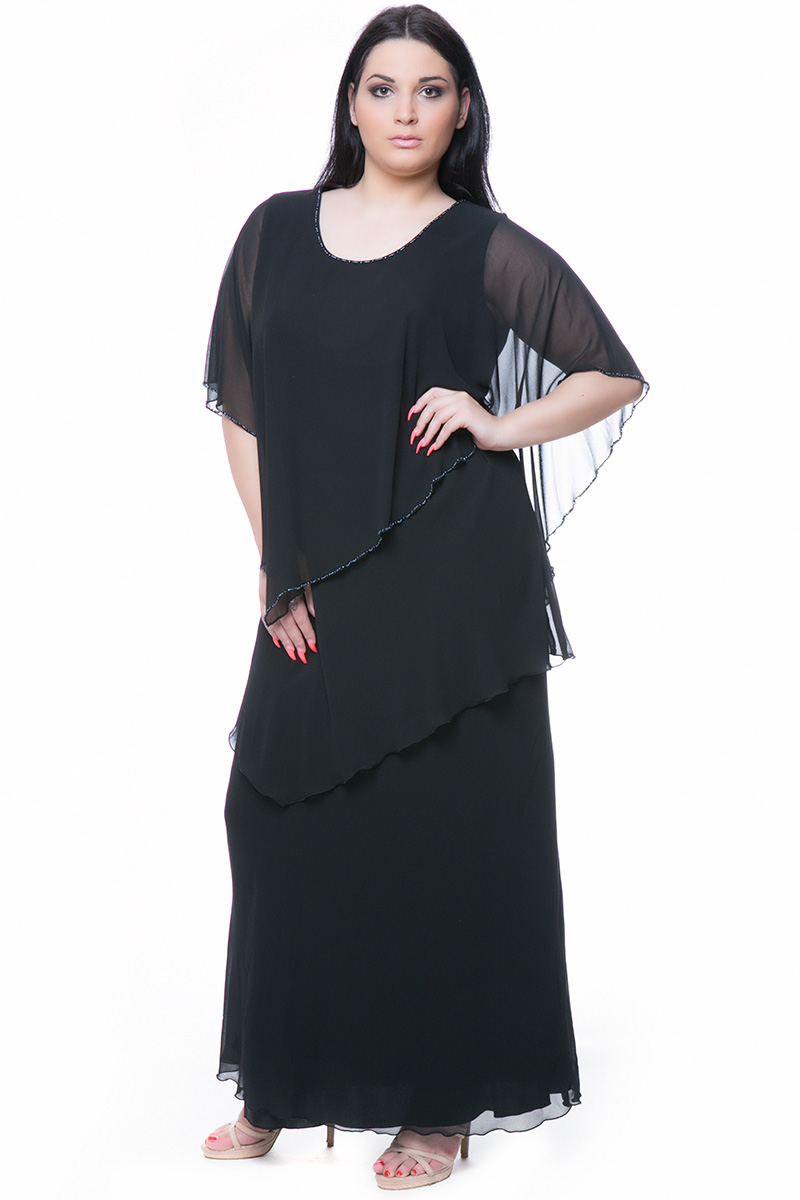 742cc5f21e4f Maxi φόρεμα Χρώμα μαύρο Εφέ layering με βολάν Κεντημένες χάντρες στην  λαιμόκοψη και στα μανίκια I