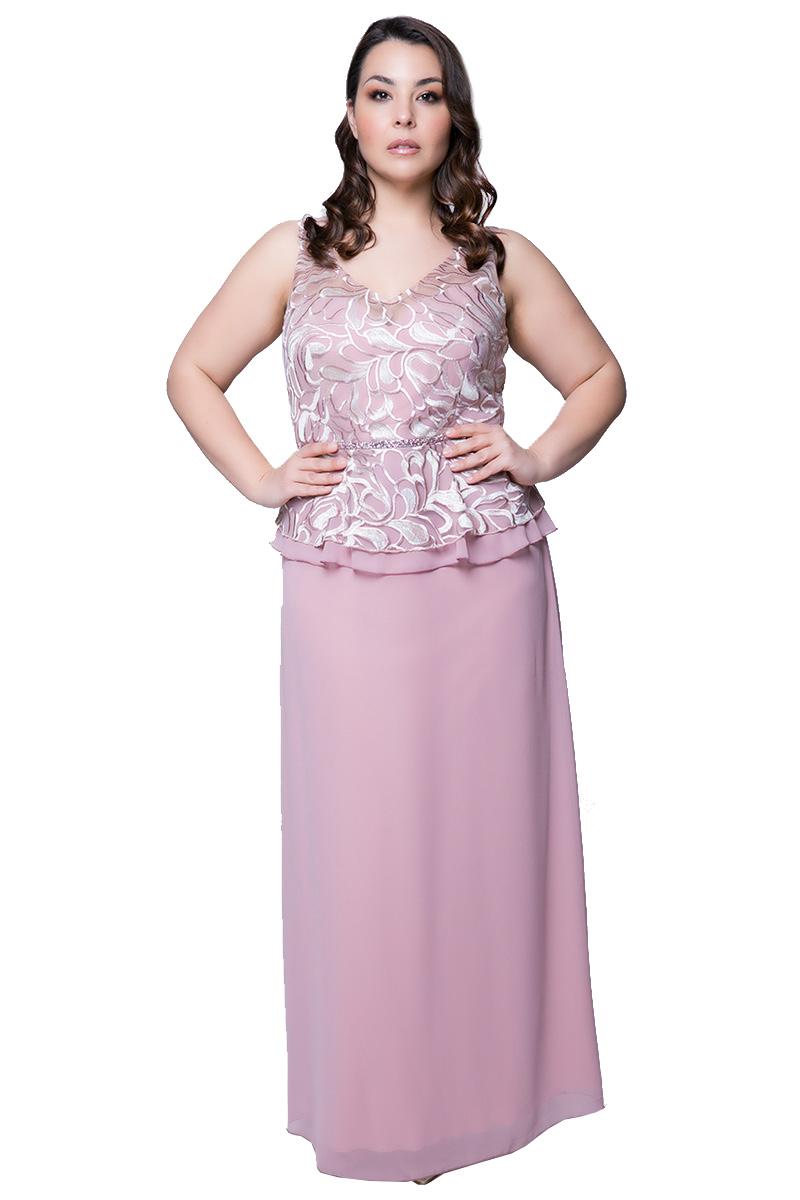 eca84e0c5782 Maxi φόρεμα με μπούστο δαντέλας σε χρώμα πούδρα