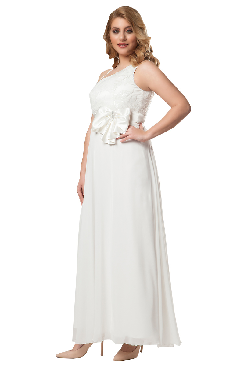 849ab407c59c Φόρεμα maxi Λευκό χρώμα Μπούστο με παγιέτες και δαντέλα Διαθέτει φερμουάρ  στο πίσω μέρος Σατέν φάσα