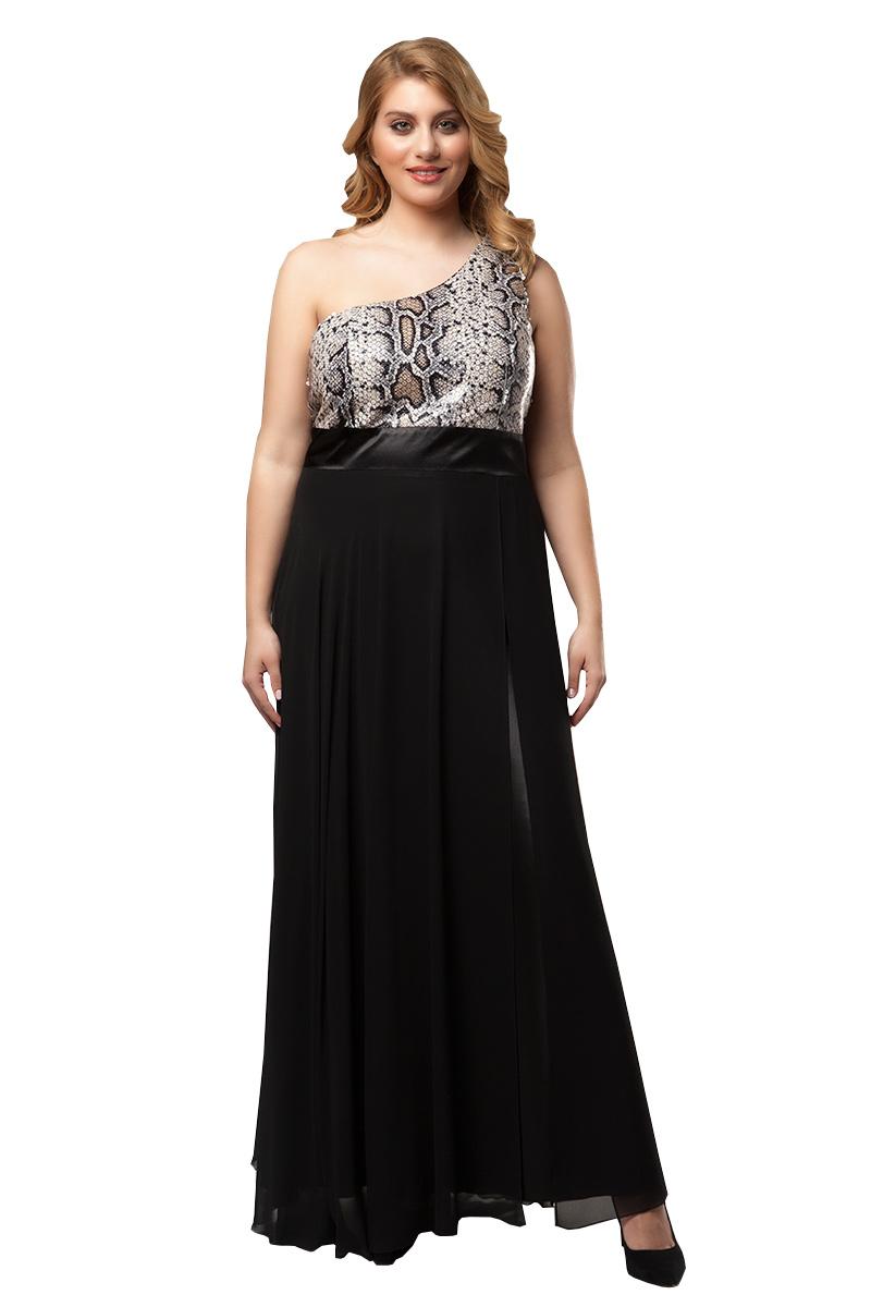 40cc8390e70a Φόρεμα maxi Μαύρο χρώμα Snake print μπούστο με παγιέτες Διαθέτει φερμουάρ  στο πίσω μέρος Σατέν φάσα