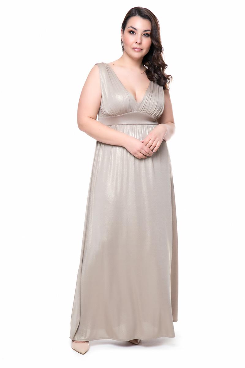 43ed143d8ca7 Φόρεμα maxi Χρυσό χρώμα Κρουαζέ άνοιγμα στο πίσω μέρος Αμάνικο Φάσα στην  μέση Διαθέτει ελαστική φόδρα