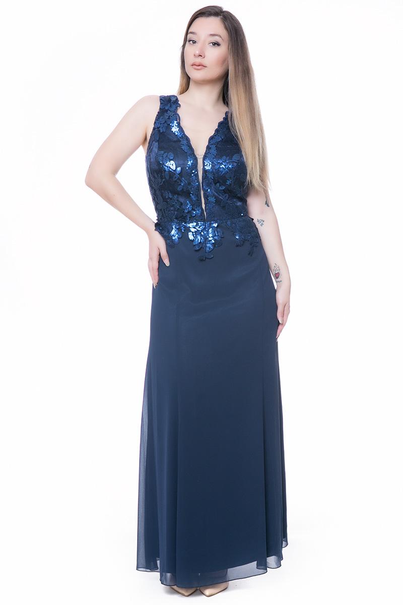 de9bca225537 Maxi φόρεμα μπλε με μπούστο κεντημένο με παγέτες