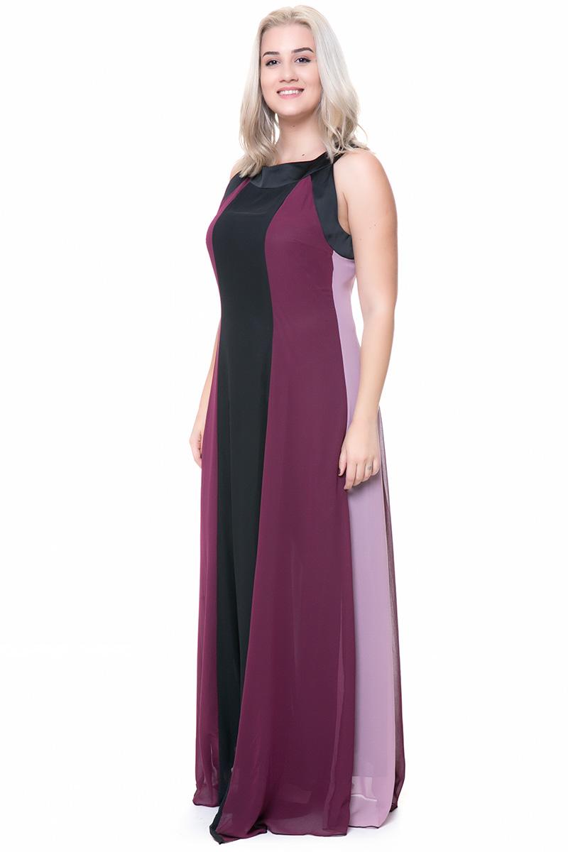 Maxi μπορντό μαύρο φόρεμα τρίχρωμο με μύτες 10e15ac9cbb