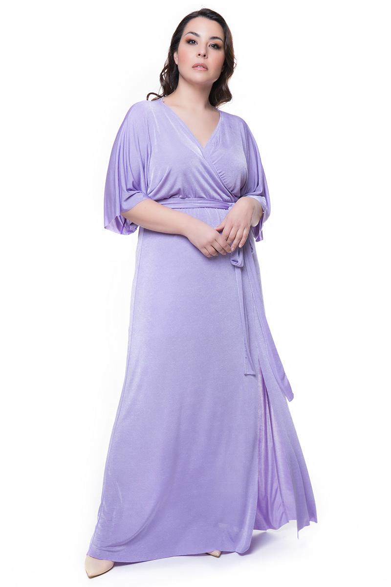 7d5e0e007ec7 Maxi κρουαζέ φόρεμα με ζώνη σε λιλά χρώμα