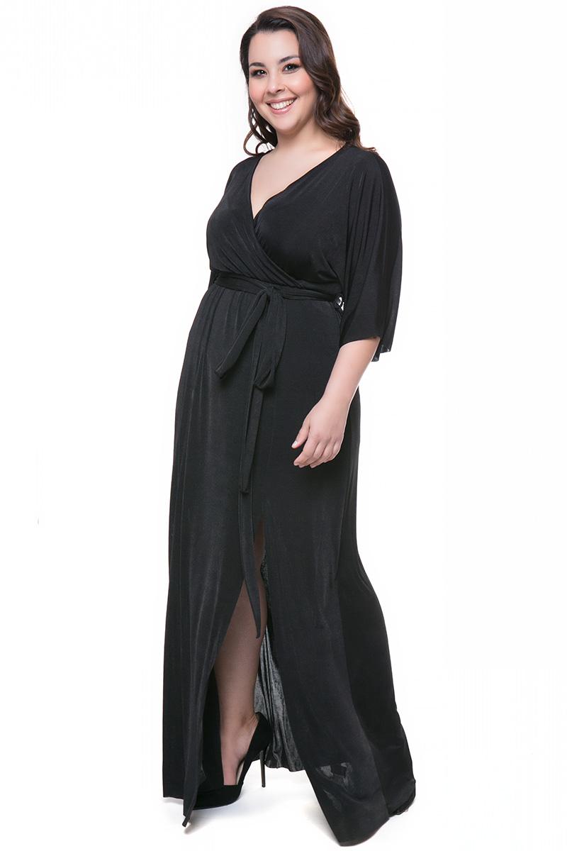 c6741c64a569 Maxi κρουαζέ φόρεμα με ζώνη σε μαύρο χρώμα