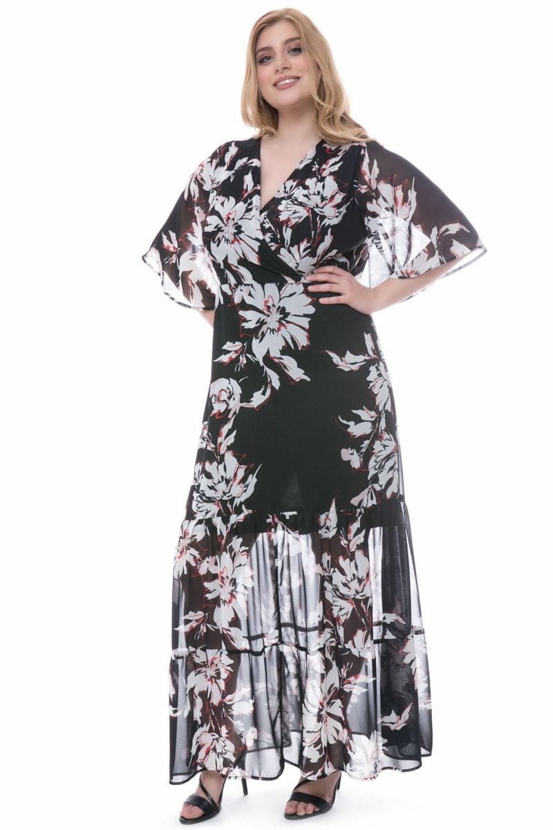 b48910fce564 Maxi μαύρο εκρού φόρεμα με λουλούδια
