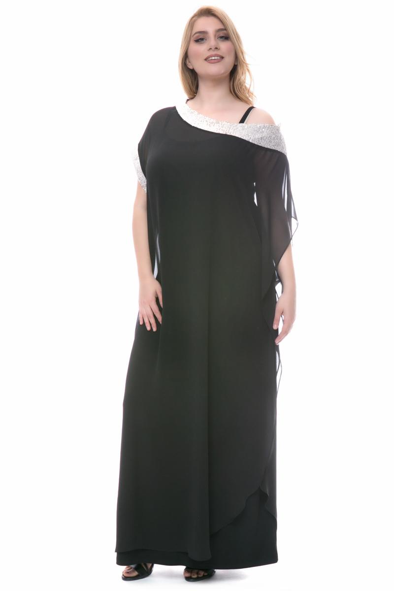 4ee5f1f2942a Φόρεμα maxi Μαύρο χρώμα Διαθέτει ανεξάρτητη τουνίκ Εσωτερικό ελαστικό φόρεμα  Κοντά μανίκια Κλειστή λαιμόκοψη Σε ίσια