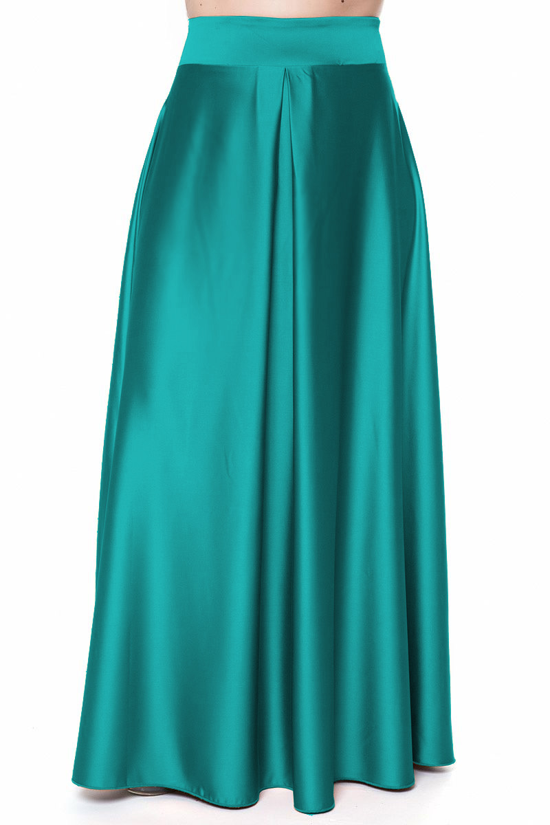 b165cce44416 Maxi φούστα Πράσινο χρώμα Satin like Άλφα γραμμή Φερμουάρ στο πλάι Πιέτα  στη μέση Σύνθεση