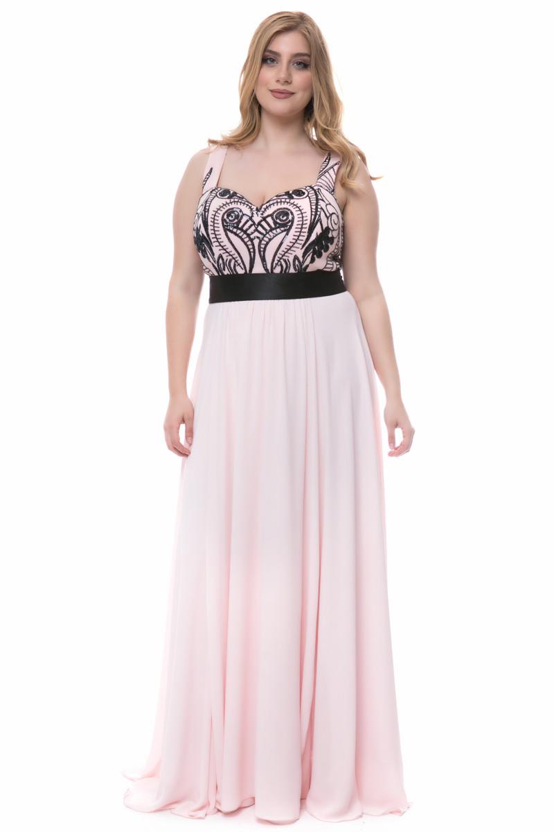 fa1d981d990a Φόρεμα maxi Ροζ χρώμα Διαθέτει μαύρες παγιέτες στο πάνω μέρος Διαθέτει  φερμουάρ και φιόγκο πίσω Φαρδιές